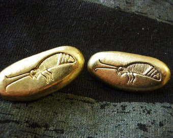 SALE Golden Hieroglyphic Bug vintage Earrings,Bee Clip on earrings