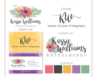 Branding Set - Flowers Feathers Watercolor - Logos, Watermark, Business Card - Customizable - Predesigned - Option to retire design