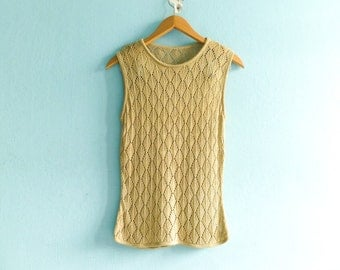 Vintage Tank Top Crochet Net Lace Lacy See Through Sheer Openwork Diamond Pattern Golden beige / small medium