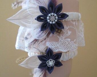 Plum Purple Wedding Garter Set, Peacock Garters, Ivory Lace Bridal Garters, Purple Eggplant Garters, Boho-Rustic-Country Bride-
