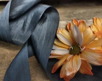 CHARCOAL  silk ribbon , rustic wedding, romantic, beautiful