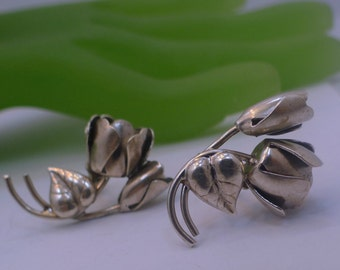 Earrings (Screw Back) Vintage Sterling Silver Rose Blossom and Bud  (88249)