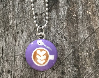 Hand Painted Latte Necklace in Purple