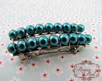 French Barrettes - Teal - Set of 2 - bright teal glass pearls on steel french barrettes for girls, teens, and women by reynared