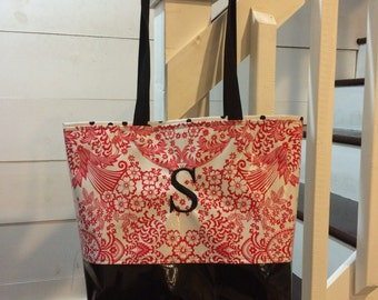 Designer Inspired Bag/ Color Block Medium Tote Bag/ Monogrammed Tote Bag/ Personalized Bag/ Personalized Beach Bag/ Red tote bag/ Tote Gift