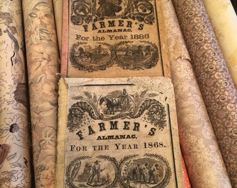 Two Antique Worn Farmer Almanacs That Have Gorgeous Graphics