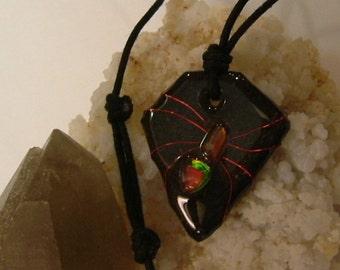 Bright Red to Red Orange Fire Gem Ammolite From Utah Deposit, Spider Mens Cord Necklace 618