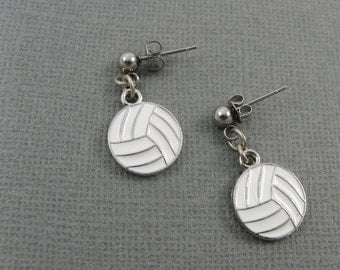 Volleyball Jewelry (Athletic Sports Team Earrings in White)