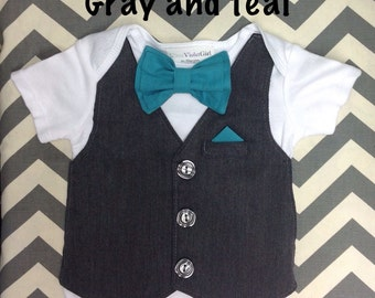 2 for Twins Comfortable Baby Boy Vest/Bow tie Outfit PLUS Pocket Square INCLUDES pants for Weddings, Special Occasions short sleeves