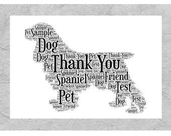 Spaniel Personalised Word Art Print Perfect Birthday Christmas Gift, Pet Loss