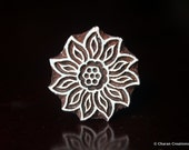 Hand Carved Indian Wood Textile Stamp Block- Flower