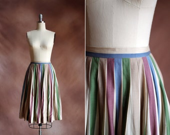 vintage 1960's colorful silk striped pleated skirt / size s