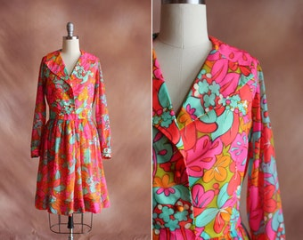 vintage 1960's colorful psychedelic floral print chiffon shirtwaist dress / size m