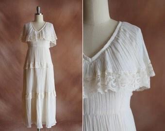 vintage 1970's cream gauze cotton & lace tiered midi wedding dress / size s