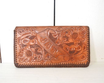 Tooled Leather Wallet 1970s Vintage Floral Honey Brown Large Billfold JAT Monogram