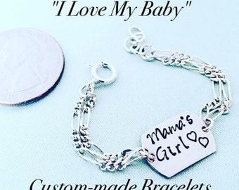 Sterling Silver or with Gold filled chain adjustable infant to toddler baby bracelet. Custom stamped with name, date etc..