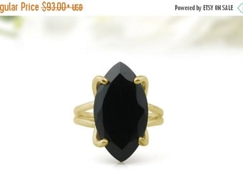 SUMMER SALE - Marquise ring,black onyx ring,gemstone ring,gold ring,statement ring,black ring,cocktail ring