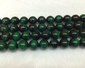 4mm-12mm Round Tiger Eye Beads Green Semiprecious Gemstone Bead String Beading 15''L Jewelry Supply Wholesale Beads