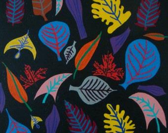"October Acrylic 30"" x 30"" Original Painting on Canvas Fallen Leaves Autumn Still Life Pop Art"