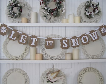 LET it SNOW-with snowflakes, Farmhouse Christmas, Christmas Sign, Christmas Decoration, Snowflakes, Christmas Photo Card