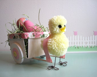 Easter Chick Decoration Rustic Wood Easter Basket Pastel Yellow Pink Floral Spring Decor Centerpiece Wooden Cart Vintage Style  Pom Pom