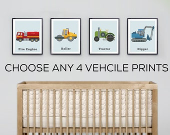 Vehicle prints, boys room decor, colourful wall art for toddlers, Construction Trucks, Train prints, Car Decor, Fire Engines