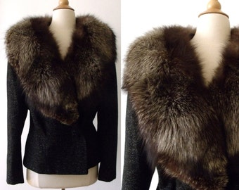 40's WW2 Silver Fox FORSTMANN Black Wool Jacket ~ Old Hollywood Glamour