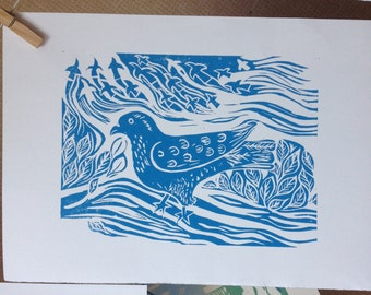 Hand Printed Limited Edition- Blue Bird Lino Print - A4