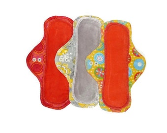 10 inch Light or Moderate Cloth Reusable Pad READY to SHIP Organic Bamboo or Cotton Velour and Cotton Flannel with PUL Waterproof Layer