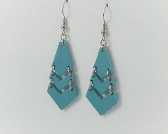 Teal Geometric polymer clay earrings
