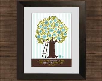 Gift for Teacher, Personalized Apple Tree, Printable Christmas Gift, Last Minute Classroom Gift, Classroom Decor, PDF