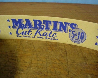 Vintage Martin's Cut Rate 5 and 10 Cent Store Gummed Labels By The Yard five and dime 10 Labels Mint Store Stock