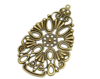 Filigree : 10 Antique Bronze Filigree Connectors | Filigree Metal Jewelry Stampings | Filigree Links - Lead, Nickel & Cadmium Free 15265.N