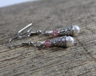 Customizable Earrings / Bridesmaids Gifts / Pearl and Swarovski Crystal Earrings / Color Choices / Gifts for Her / Customizable / Simple