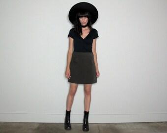 Dark Green HIGH WAIST Mini Skirt 90s Suede-like Womens Vintage Size 28 Waist