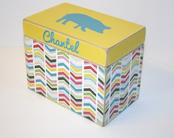 Chevron Recipe Box, Yellow and Teal Recipe Box, 4x6 Recipe Box, Pig Box, Handmade 4 x 6 Wooden Recipe Box, Keepsake Box, Rainbow Chevron Box