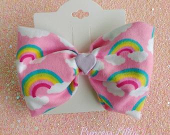 Rainbow Sweetheart Hairbow, Rainbow Hairbow, Pastel Rainbow, Handmade Bow, Rainbow Hairclip, Pink Hairbow, Kawaii Hairbow, OOAK Hairbow
