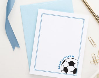 Soccer stationery set, Personalized stationery for kids, Custom stationery, sports stationery, Personalized Soccer ball note cards, KS024