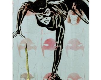 Catwoman Painting Portrait Batman Returns Art 11x20 Mixed Media Original Painting Graffiti on Canvas Batman Warhol Banksy Print Inspired