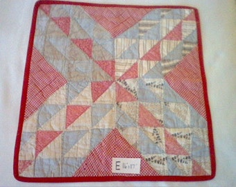 """Vintage patchwork doll quilt or table runner red white blue black with red border 17"""" x 16"""" E"""