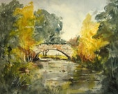 Watercolor Landscape Painting, Archival Print, scenic pond, woodland stream, nature painting, country landscape, stone bridge.