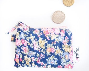 Liberty Oilcloth Mini Coin Purse with a Swivel Clip - Liberty of London Tatum (Navy Blue)