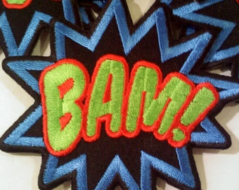 Comic Book Embroidered Iron On Patc/Applique- BAM