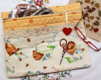 Bee Hive Forget Me Not Cross Stitch, Embroidery Project Bag