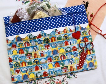 Summer Beach House Cross Stitch, Sewing, Embroidery Project Bag
