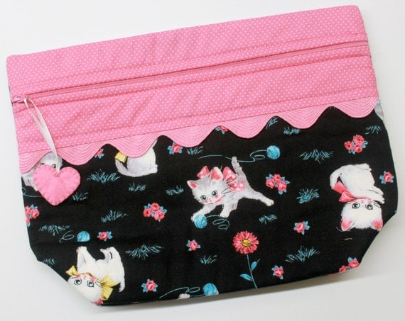Lil' Big Bottom Playful Kittens Cross Stitch Embroidery Bag