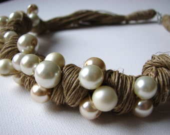 loop of pearls - linen necklace