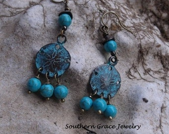 Beach ready Sand Dollar Chandelier Earrings in vintage blue patina finish
