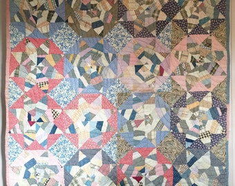 Antique Vintage Spiderweb Star Quilt Beautiful Old Fabrics