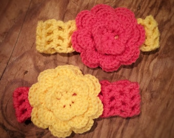 Floral Baby Headbands - Pink and Yellow Pack of 2 - Size Newborn through 0-3 Months